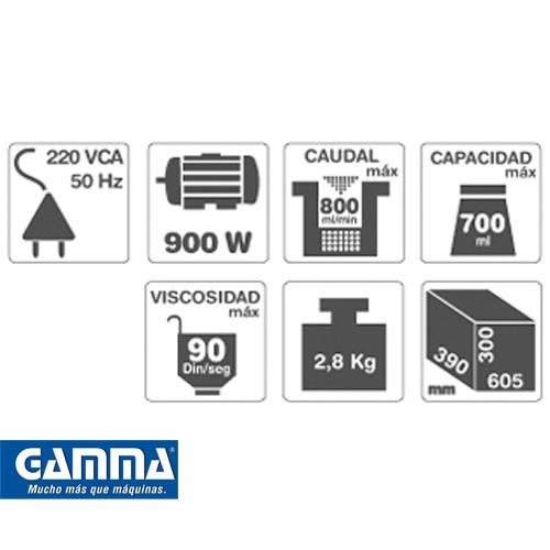 Equipo para pintar a soplete Gamma 900w Artículo G2822