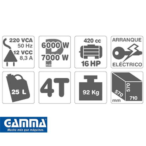 Grupo Electrógeno Gamma Elite 16hp Modelo 7500e