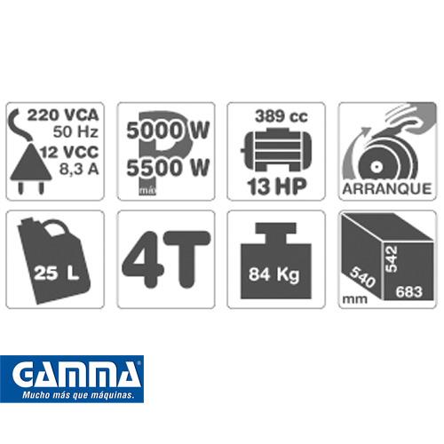 Grupo Electrógeno Gamma 13hp Modelo 5500v