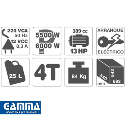 Grupo Electrógeno Gamma 13hp Modelo 6500ve