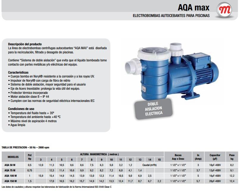 Motorarg Línea Aqa Max Bomba para piletas e hidromasajes