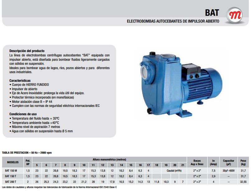 Motorarg Línea Bat Bomba centrifuga horizontal