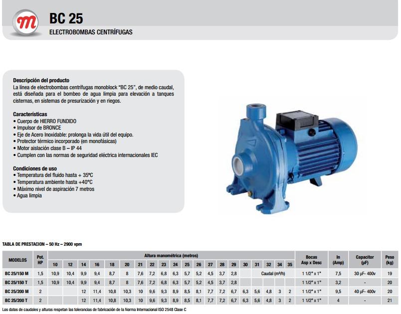 Motorarg Línea Bc 25 Bomba centrifuga horizontal
