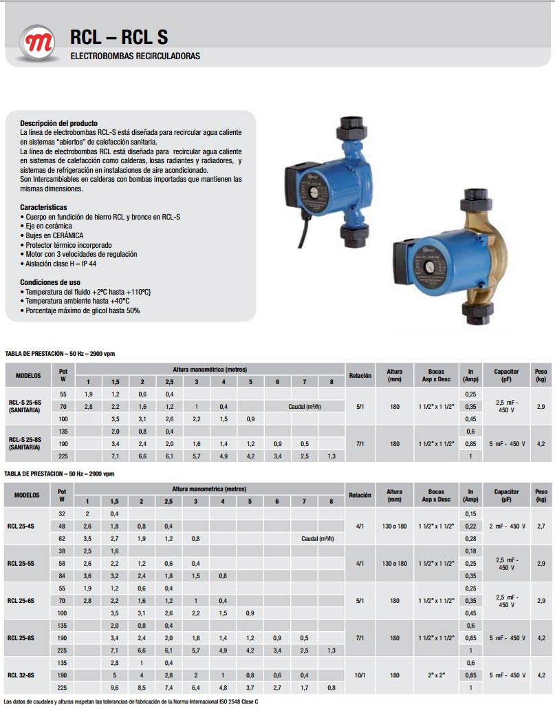Motorarg Línea Rcl Bomba presurizadora agua caliente