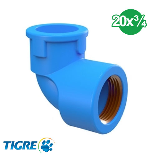 CODO 90º PVC SOLDABLE CON BUJE METAL 20mm x ¾''