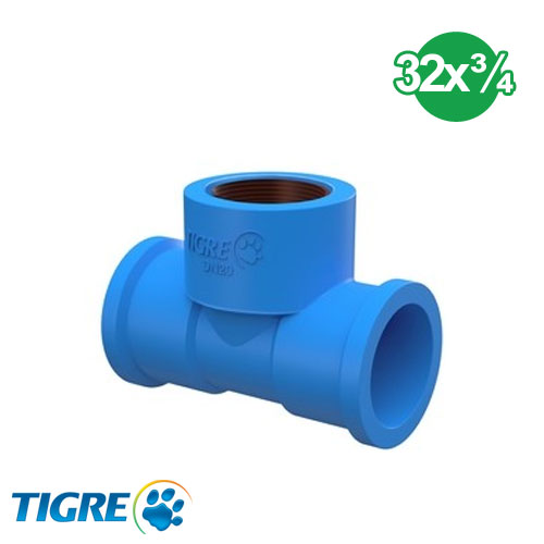 TEE PVC SOLDABLE CON BUJE METAL 32mm x ¾