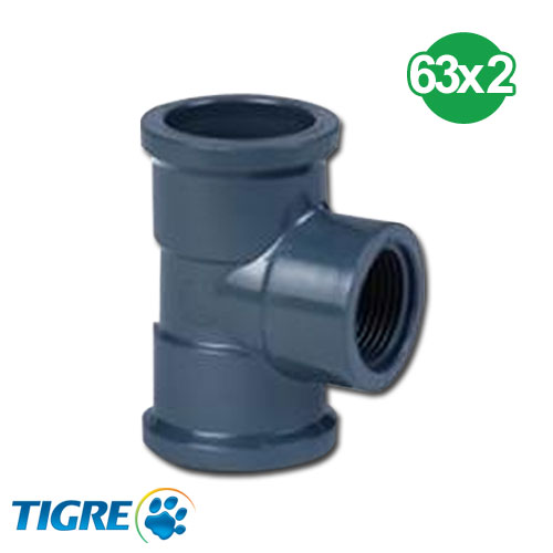 TEE 90º PVC SOLDABLE ROSCABLE 63mm x 2