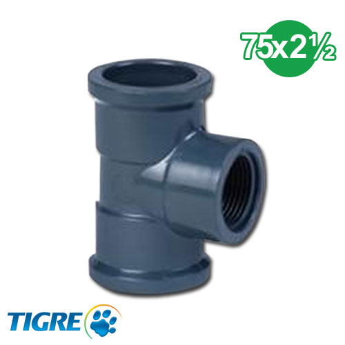 TEE 90º PVC SOLDABLE ROSCABLE 75mm x 2 1/2