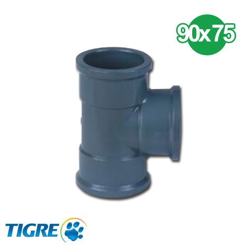 TEE REDUCCIÓN PVC SOLDABLE 90 x 75mm
