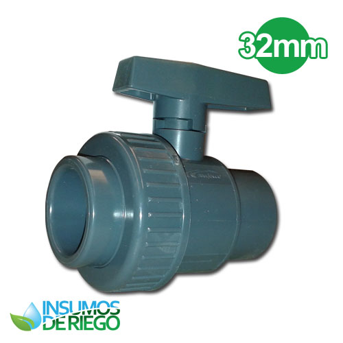 VALVULA VALFLUX PVC SOLDABLE CON UNION DOBLE 32MM